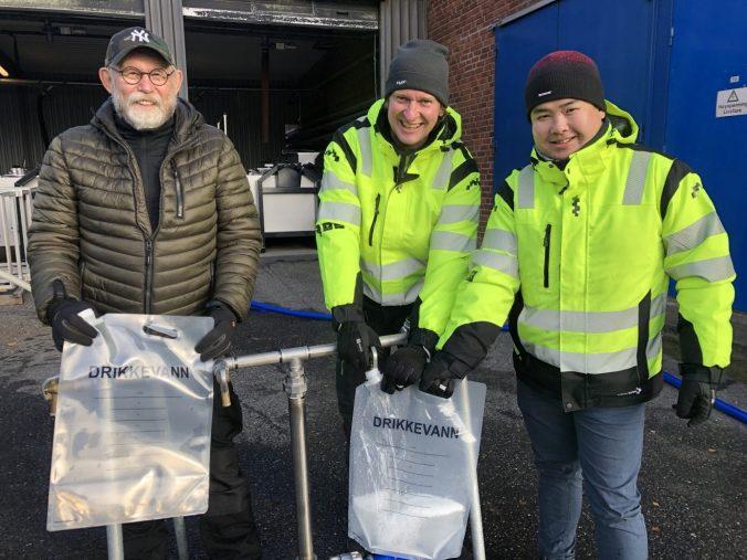 Øivind Hegg, Georg Finsrud og Tao Huang fra utstyrsleverandøren Scanwater sto for opplæringen